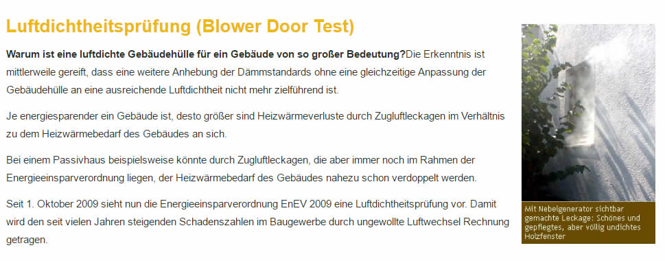 Luftdichtheitmessung, Blower-Door-Test   Limbach