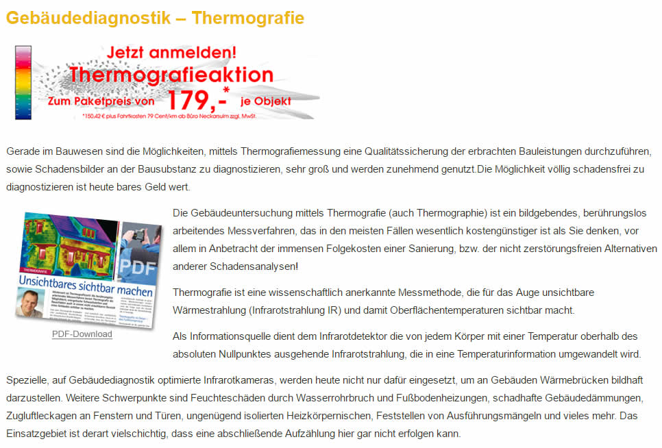 Thermografie, Gebäudediagnostik in 97980 Bad Mergentheim